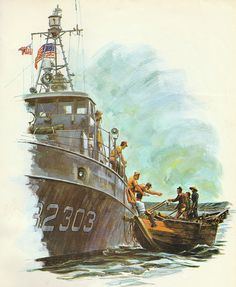 Title: Coast Guard In Vietnam painting by artist Jerry McElroy. Coast Gaurd, Coast Guard Ships, Navy Rates, Brown Water Navy, Ship Paintings, Ship Art, Military Art, Vietnam War, Boat