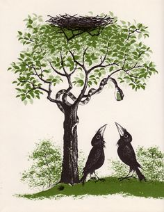 illustration by Barbara Cooney for Aldous Huxley' 1944 one and only children's book 'The Crows of Pearblossom'. It never saw the light of day in Huxley's lifetime but was published posthumously in 1967