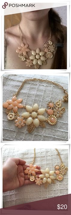 🌴NEW LISTING🌴 Statement Necklace #2 Peach/coral and beige. Gold Plated. Necklace, Choker. Adjustable. Faux stones. Link chain. Metal = zinc alloy. Lightweight. 16 inches. (8/28) Tamarismom Jewelry Necklaces