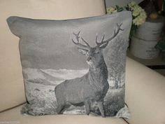 STAG  BLACK /GREY COLOUR CUSHION WITH INNER TAPESTRY FINISH LOVELY QUALITY £10.99