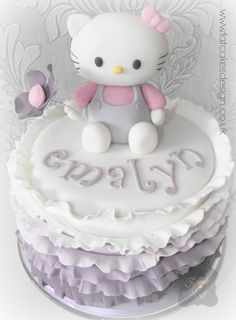 Purple ombre Hello Kitty cake with Ruffles and flower.