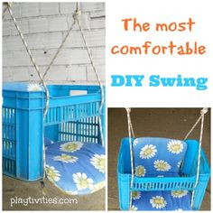 How To Make a Swing From a Plastic Box Ever wonder how to make a swing? It took me 10 minutes, 1 tool and I used stuff I already had at home. I was more than please with the result. Diy Swing, Baby Swings, Baby Kind, Baby Play, Diy Toys, Outdoor Fun, Toddler Activities, Kids And Parenting, Diy For Kids