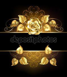 Баннер с Золотая Роза — стоковая иллюстрация #67018481