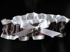 Mossy Oak Breakup Camo and White Satin Garter by ShabeeStitches, $20.00 Really think Dan would like this!