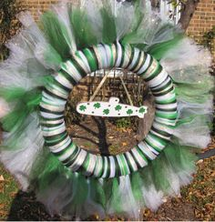 Saint Patrick's Day Submarine Tulle Wreath with Greens, White, and Gold - pinned by pin4etsy.com