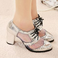 Fashion Women's Pumps With Lace-Up and Carving Design...Argh...they need to make these in larger sizes!