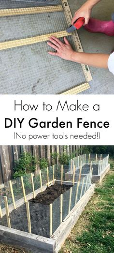 Great tutorial for how to make a simple DIY fence for a veggie garden!