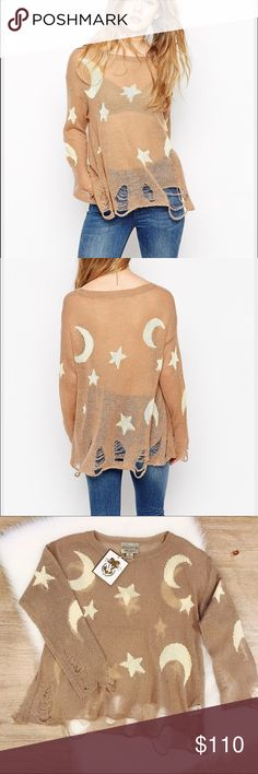 🍁SALE🍁Wildfox Couture Sweater Wildfox Couture Night Owl Star Moon Rip Knitted Lenon Sweater Jumper. New with tags, runs as on the model, loose, but super comfy and cool looking! Material is super soft, sweater is just amazing! 56% acrylic, 34% nylon, 10% wool.           🌷10% off bundle 2 items or more!🌷                             •NO TRADING                             •no lowballing                             •reasonable offers                             •smoke free…
