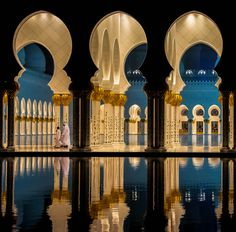 The Grand Mosque. Abu Dhabi, UAE - Explore the World with Travel Nerd Nici, one Country at a Time. http://TravelNerdNici.com