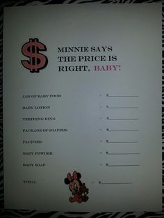 Minnie Mouse Theme Baby Shower Games