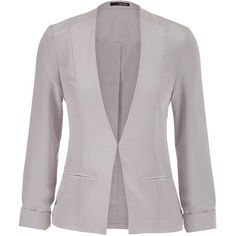 maurices Lightweight Grey Blazer With Clip Closure ($33) ❤ liked on Polyvore featuring outerwear, jackets, blazers, silver gray, long sleeve jacket, light weight jacket, lightweight jackets, grey jacket and gray blazer