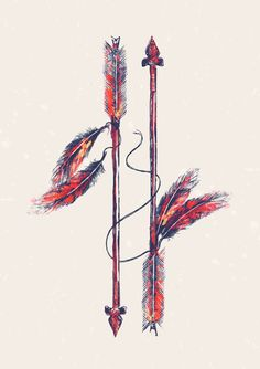 "Indian Arrow Art. My husband and I are getting this tattoo together next week. Been through SO much. In between the arrows it will read: ""A bond that bends but never breaks""."