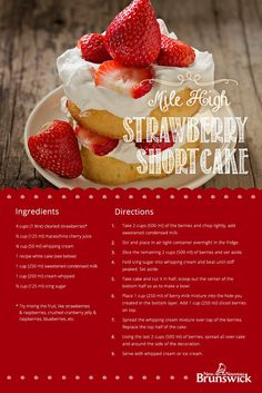 Recipes inspired by New Brunswick's harvest. Strawberry Shortcake, Whipped Cream, Creme, Cake Recipes, Berries, Cheesecake, Cherry, Yummy Food, Sweets