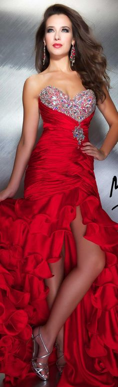 Mac Duggal couture dress red #strapless #glitter #long #formal #red #dress MAC DUGGAL PROM STYLE 4946M