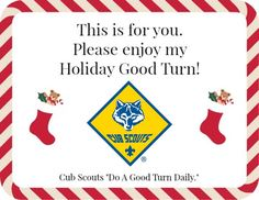 Random Acts of Kindness Ideas, #CubScout style!  Includes printables to show everyone our Cub Scout Good Turns.