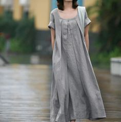 Spring and summer dress European and American plus-size loose casual linen dress artistic temperament cotton and linen