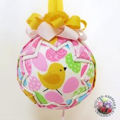 Easter Chic Quilted Christmas Ornament - Yellow Chicken and Easter Eggs