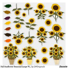 Shop Fall Sunflower Seasonal Large Vinyl Stickers created by LWOriginals. Design Your Own Stickers, Custom Stickers, Sunflower Stencil, Sunflower Illustration, Flower Window, Sunflower Bouquets, Window Clings, Vinyl Sheets, Vinyl Crafts