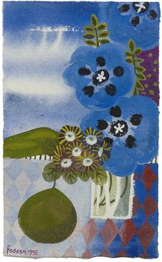 Mary Fedden | (68) Blue Poppies and Auriculas