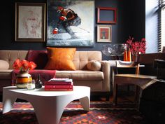 midnight blue wall, beige couch, raw silk cushions, birch table // masculine living room