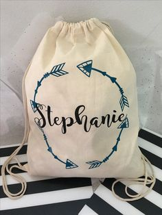 I'm loving this drawstring bag I personalized for my sister in laws birthday. Order yours today! Custom large drawstring tote backpack with name a arrow frame! ***BAG CAN BE CUSTOM MADE TO SAY ANYTHING YOU WOULD LIKE IN ANY COLOR*** My custom tote bags make the perfect addition to your bachelorette party, birthday party, destination wedding, retirement party, classroom gift, teacher gift and so much more!