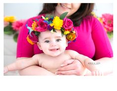 4 month old baby girl. Spring time photo session, pink and flower crown. #Photography, #babygirl, #flowercrown, #4monthsold, #mother #daughter, #newborn #babysession