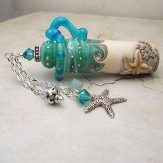 Handmade Lampwork Glass Ocean Beach Vessel, Aromatherapy, Perfume Amphora Jar with Cork Lid, Starfish, Swarovski Crystals