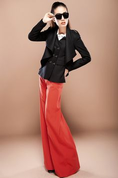 Aliexpress.com : 012 autumn new fashion womens wide leg high waist pants female casual formal striped orange trousers for women  Price:US $ 74.90suppliers on Jeanie Deng's store