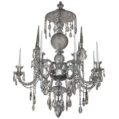 Large 19th Century Irish Georgian Crystal Chandelier