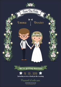 Cartoon wedding invitations tuck in neatly between these two ends of the 'wedding invite spectrum,' and are a really cute way of making your wedding invite stand out and reflect everything that you stand for.