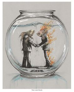 Two Lost Souls (swimming in a fish bowl, pink floyd, wish you were here, goldfish)