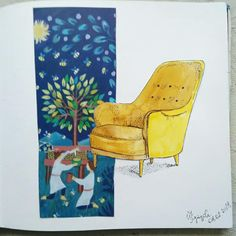 #irina_kutuzova  #artcraft Interior Sketch, Arts And Crafts, Sketches, Drawings, Illustration, Gift Crafts, Illustrations, Art And Craft, Doodles