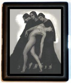 Art Deco Three Graces High art Photography Cigarette Case or ID Wallet or Business Card Holder
