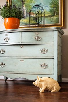 Antique American oak small chest chalk painted Annie Sloan Duck Egg