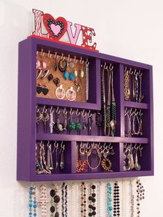 Wall Jewelry Display Case Jewelry Organizer by barbwireandbarnwood