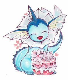 Vaporeon, cake, smiling; Pokémon