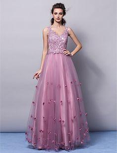 Una línea | Vestido de la princesa v-cuello palabra de longitud tul de noche (2463388) - EUR € 163.63