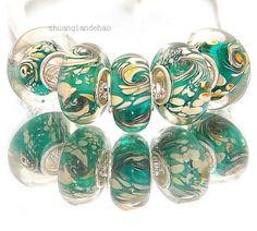 one green blue emulsion glass European charm bead - oil lampwork bracelet water