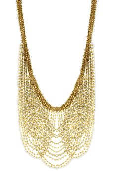 Bead Drape Necklace In Gold & Clear