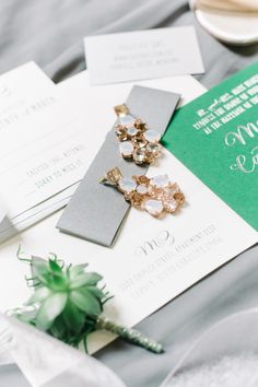 Wedding jewelry ideas, large statement earrings, glam accessories // Aaron and Jillian Photography