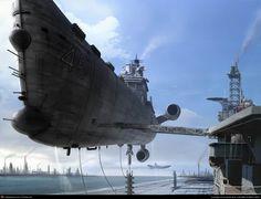 Airborne naval ship docking.
