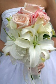 White Lily Pink Rose Wedding Bouquet