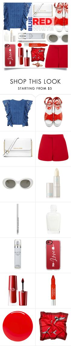 """Fashion Flag"" by metropulse ❤ liked on Polyvore featuring Sea, New York, Miu Miu, MICHAEL Michael Kors, Lela Rose, Acne Studios, Lipstick Queen, NYX, Kenneth Cole, Casetify and Giorgio Armani"