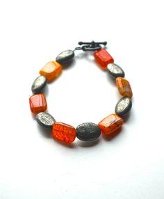 Fire agate bracelet Orange bracelet Agate bracelet by inBeads, $26.00