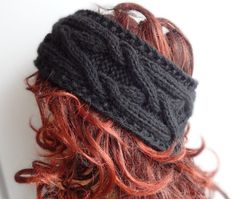 Gifts for Fashionistas: Handmade Knit Cable Headband Plait BLACK Knitted Headband Hand knit headband, head wrap, ear warmer BLACK accessories handmade Thick Headbands, Headbands For Women, Hats For Women, Headband Pattern, Knitted Headband, Knitted Hats, Knot Headband, Crochet Hats, Hand Knitting