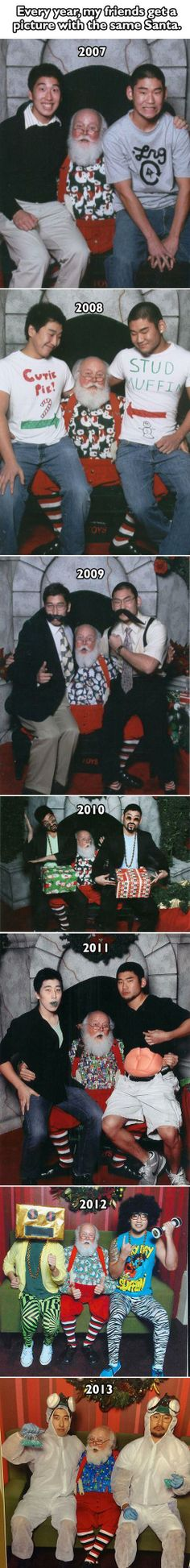 Epic friends with an awesome Santa through the years.