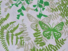 Ferns and butterflies - used on sheets and table linens