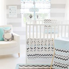 Aqua and Gray Chevron Baby Bedding