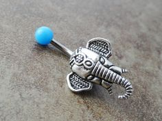 Turquoise Blue Elephant Belly Button Ring Jewelry. $15.00, via Etsy.