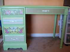 Another piece of furniture - a desk to be precise - Mod Podge Rocks